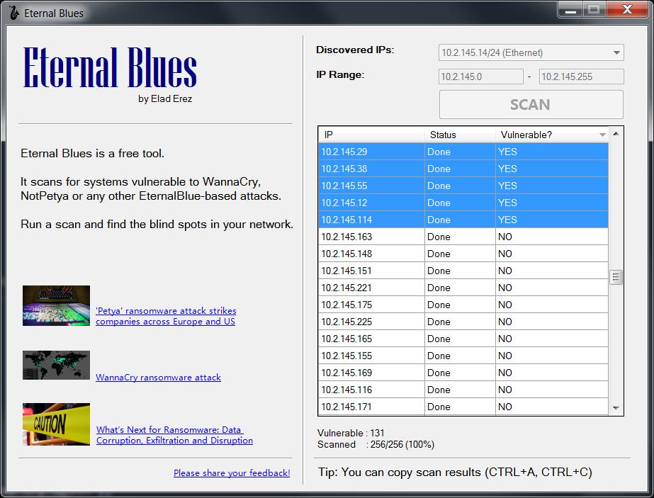 Eternal Blues:  Herramienta para escanear si eres vulnerable a EternalBlue