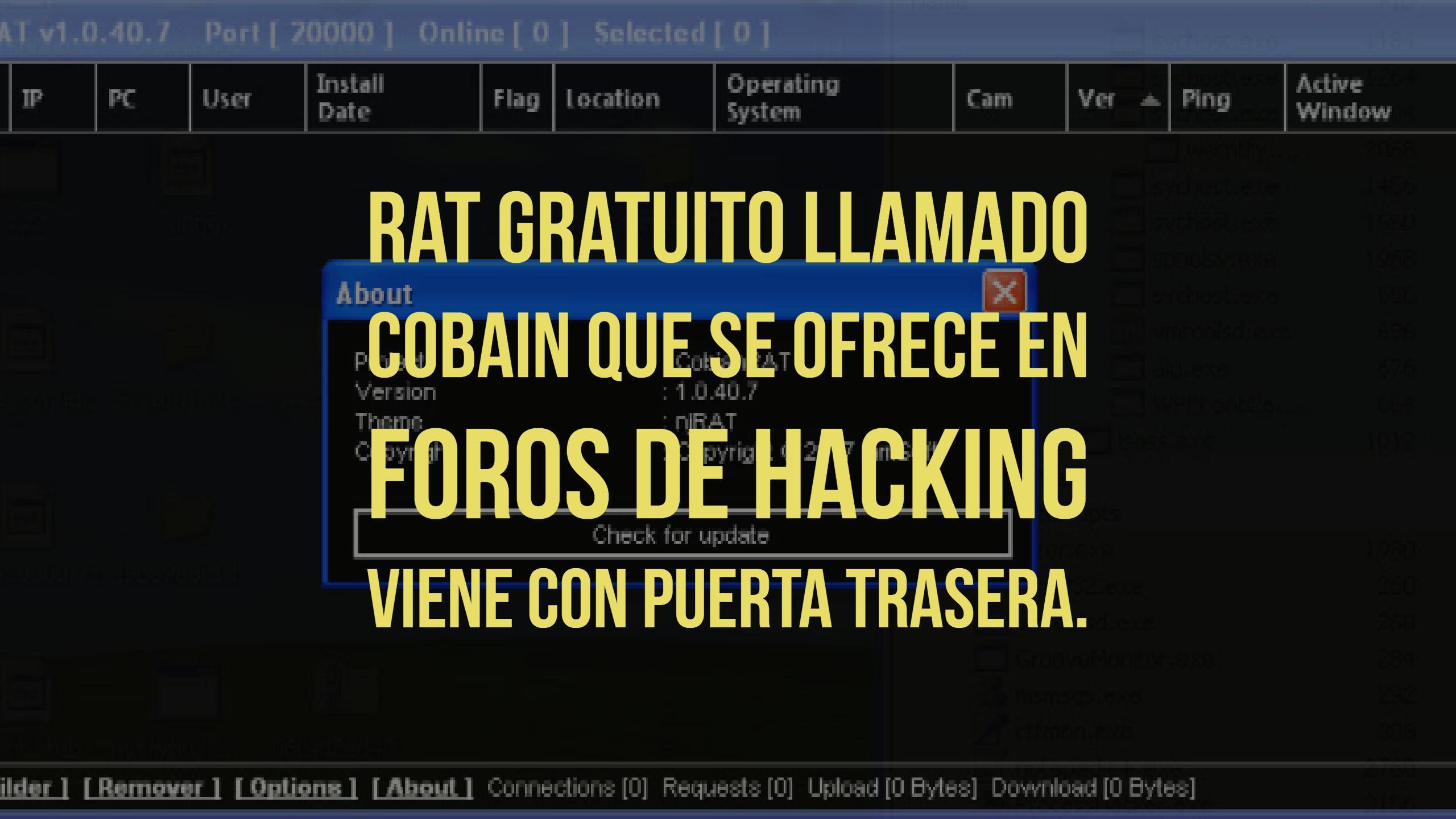 RAT gratuito llamado cobain que se ofrece en foros de hacking viene con puerta trasera.