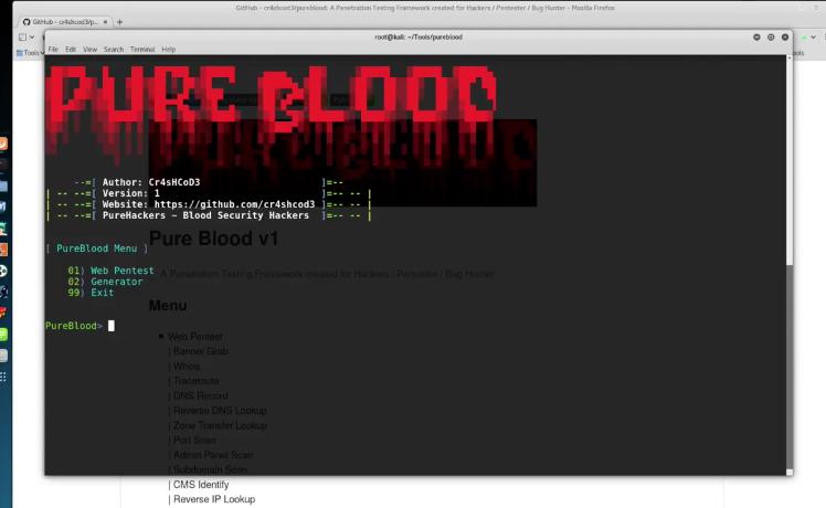 Pure Blood: Framework para pruebas de penetración creado para pentesters, hackers y bug hunters